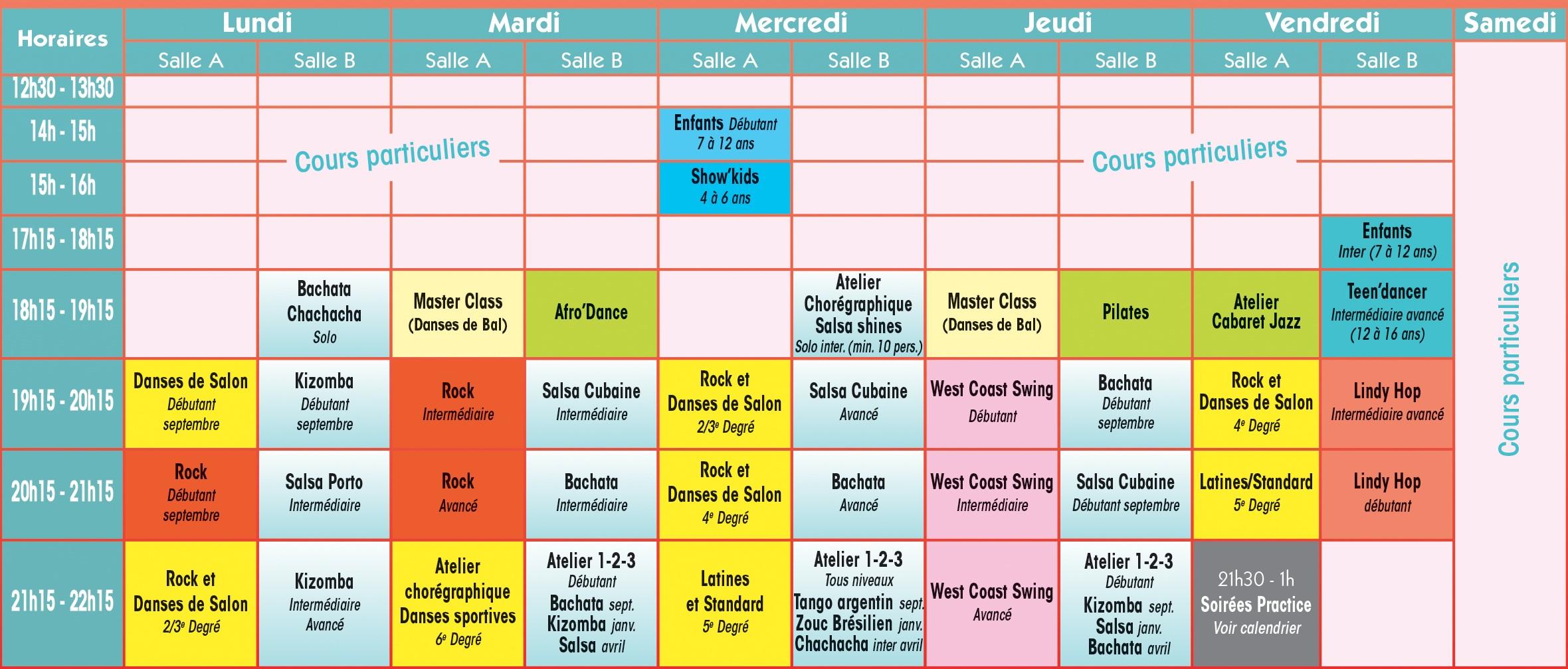 Planning des cours 2016 - 2017 de l'Ecole de danse Philippe Moreau